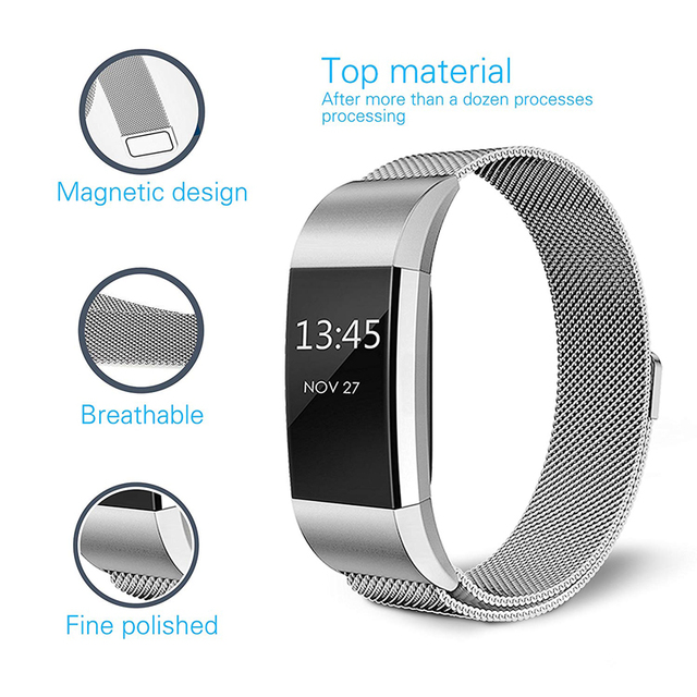 JKER Stainless Steel Magnetic Milanese Loop Band for Fitbit Charge 2 Replacement Wristband Strap for Fitbit Charge 3 Watchband 2