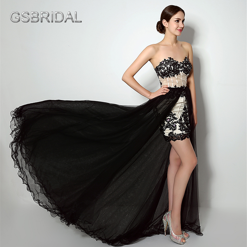 GSBRIDAL Two In One Removable Skirt Lace Appliques Prom Gown