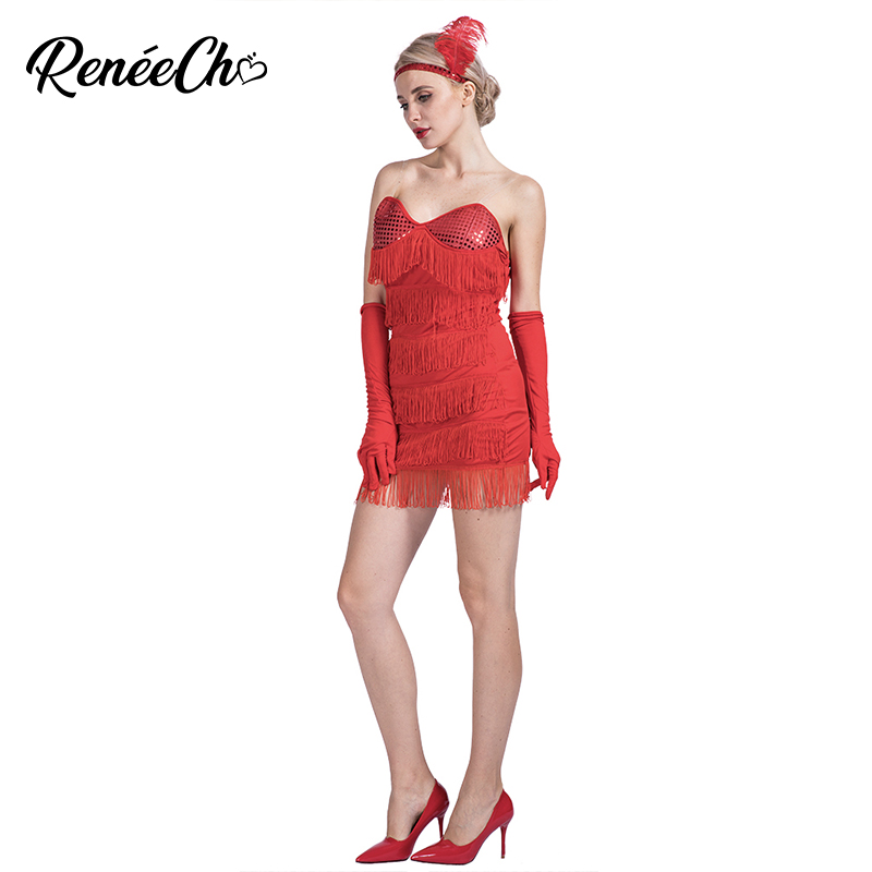 Women Costume Red Sequin & Fringe Flapper Costume Sexy strapless Female 1920s Tassels Short Dance Dress For Halloween Party