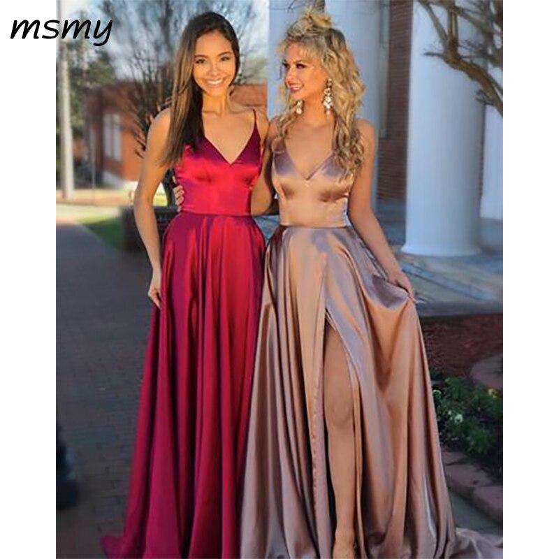 c6fb4e55c9 Simple Atmosphere Satin A-Line Prom Party Dresses V-Neck Sleeveless Floor  Length Pleat