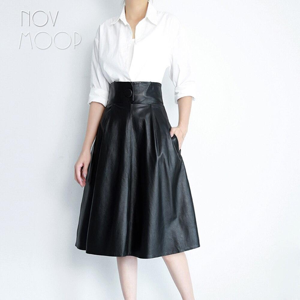 Kadın Giyim'ten Etekler'de Pist eski stil kahverengi siyah hakiki deri gerçek kuzu derisi bir düğme yüksek bel A Line etek faldas mujer etek jupe LT2428'da  Grup 2