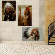 Indian with Feathered Native Woman Portrait Canvas Painting Poster Print Scandinavian Art Wall Picture for Living Room(China)