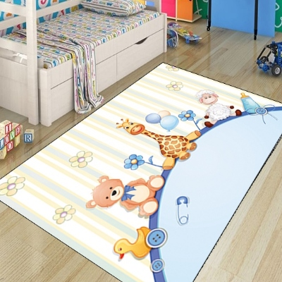 Else Baby Funny Animals Bears Lamps  Giraffe Ducks 3d Print Non Slip Microfiber Children Kids Room Decorative Area Rug Kids  Mat