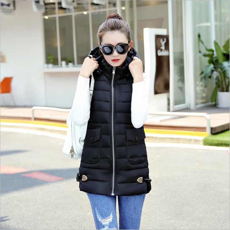 2018 High Quality Hooded Long Women Winter Vest Plus Size 5XL Cotton-padded Outwear Female Waistcoat Autumn Solid Colete CM1861