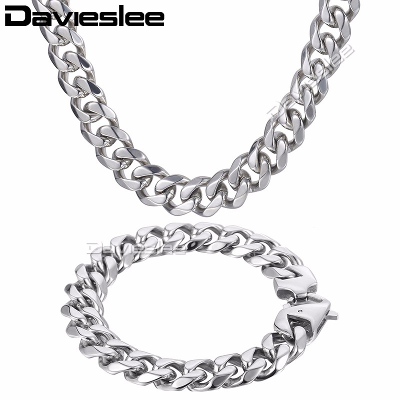 Davieslee Mens Necklace Bracelet Polished Jewelry Set  Silver Tone 316L Stainless Steel Chain Curb Cuban Link DHS43Davieslee Mens Necklace Bracelet Polished Jewelry Set  Silver Tone 316L Stainless Steel Chain Curb Cuban Link DHS43