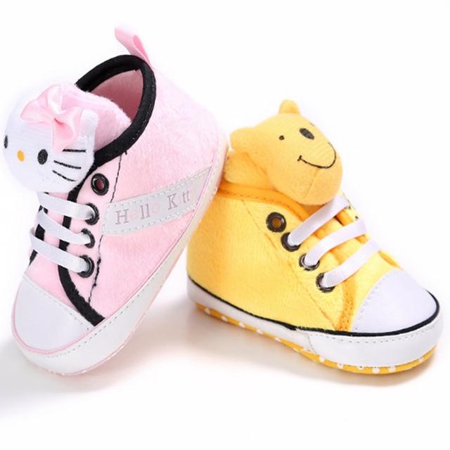 Cute Brand Baby Sneakers Pink Kitty Neonata Boots Newborn Chaussure Yellow Winnie Boy Casual Booties Bebe Sapatos Girl Baby Shoe