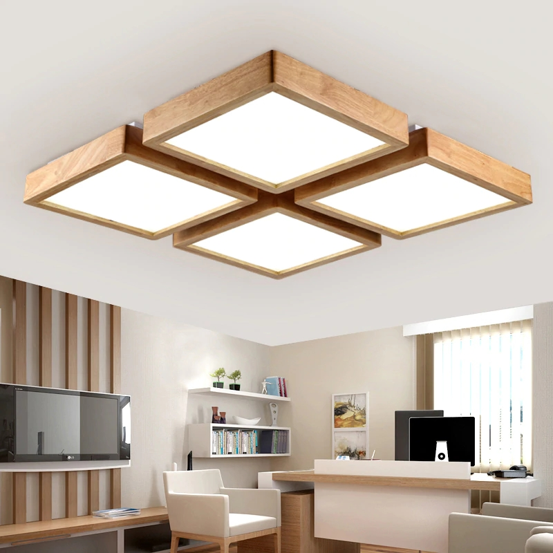 Wood Modern LED Ceiling Light Indoor Lighting Fixture Ceiling Lamp for Living Room Bedroom Foyer Home Decoration Design Square modern led chandeliers ceiling for dining room living room bedroom home decoration iron wood indoor lamp lighting fixture design