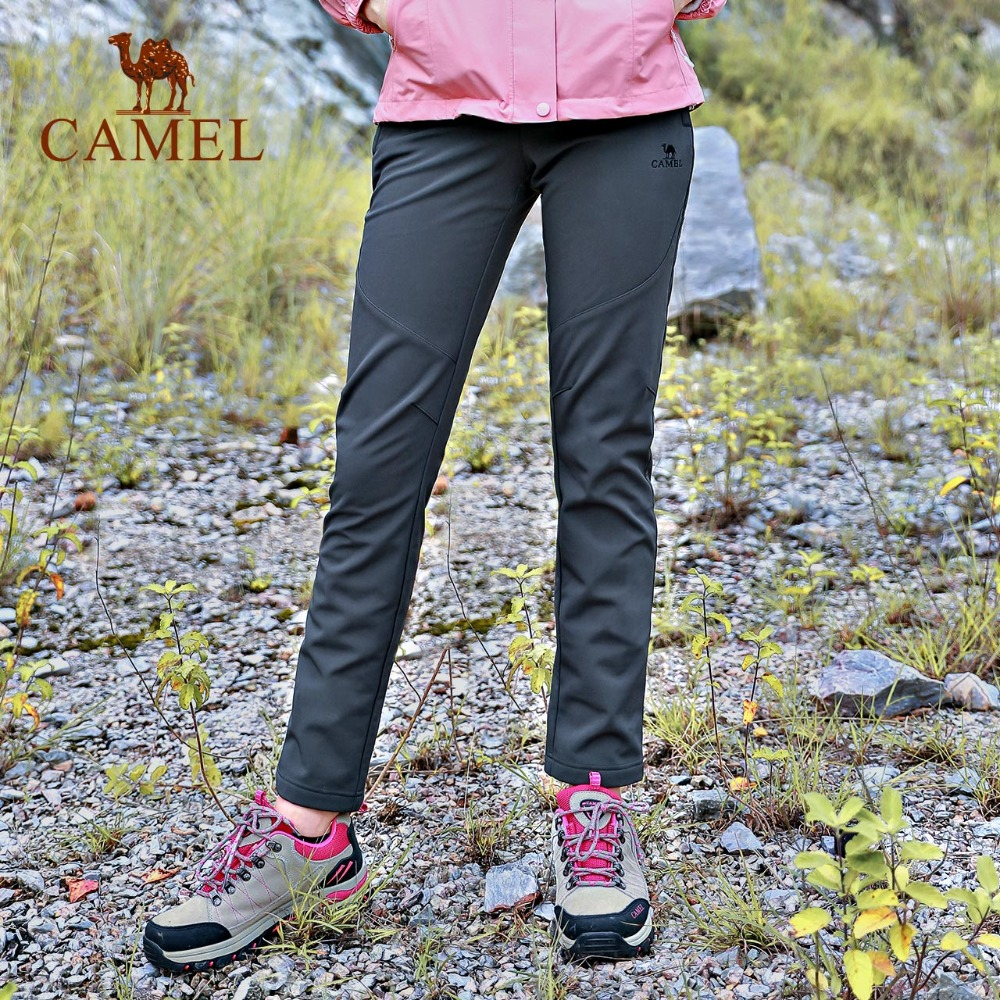 CAMEL Women Outdoor Hiking Pants Waterproof Windproof Fleece Inner Thermal Sport Climbing Trekking Softshell Trousers