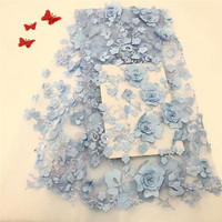 French Lace Fabric with 3D flowers High Quality African Tulle Lace Fabric with beads sky blue Baby pink lace fabric HJ1006 2