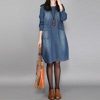 Fashion Women Retro Denim Blue Autumn Loose Casual Party Tops 2017 Crew Neck Long Sleeve Pockets