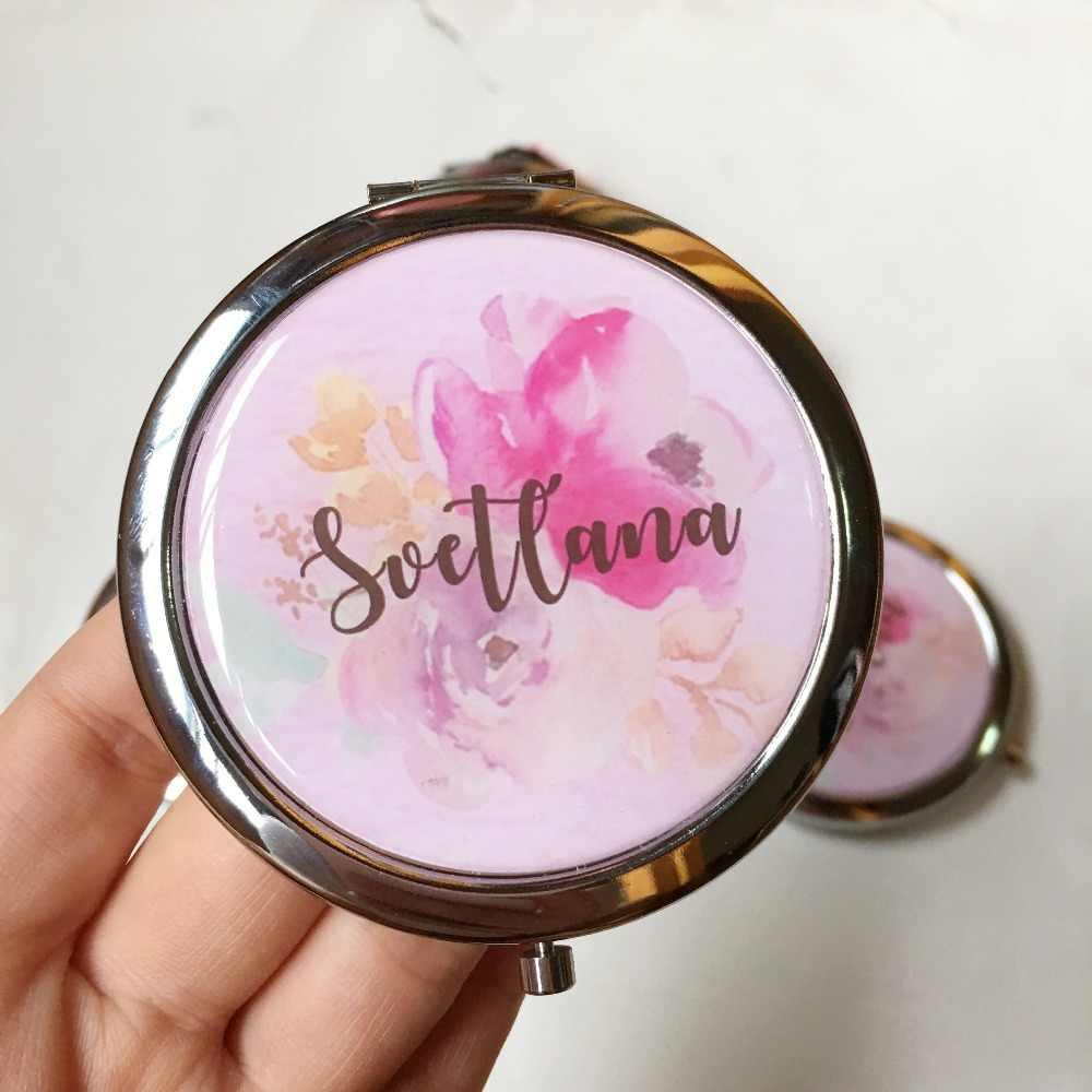 1pcs lot Personalized Compact mirror bachelorrete party custom Wedding Maid of honor gift Bridesmaid gifts