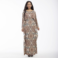 Large size 3xl dress women 2018 long Batwing Sleeve Vintage print o neck dress big/plus size loose high quality casual vestidos