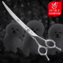 Fenice 7.5 inch Professional Curved Dogs Grooming Scissors Pets Hair Cuttings Shears Japan 440c Stainless Steel