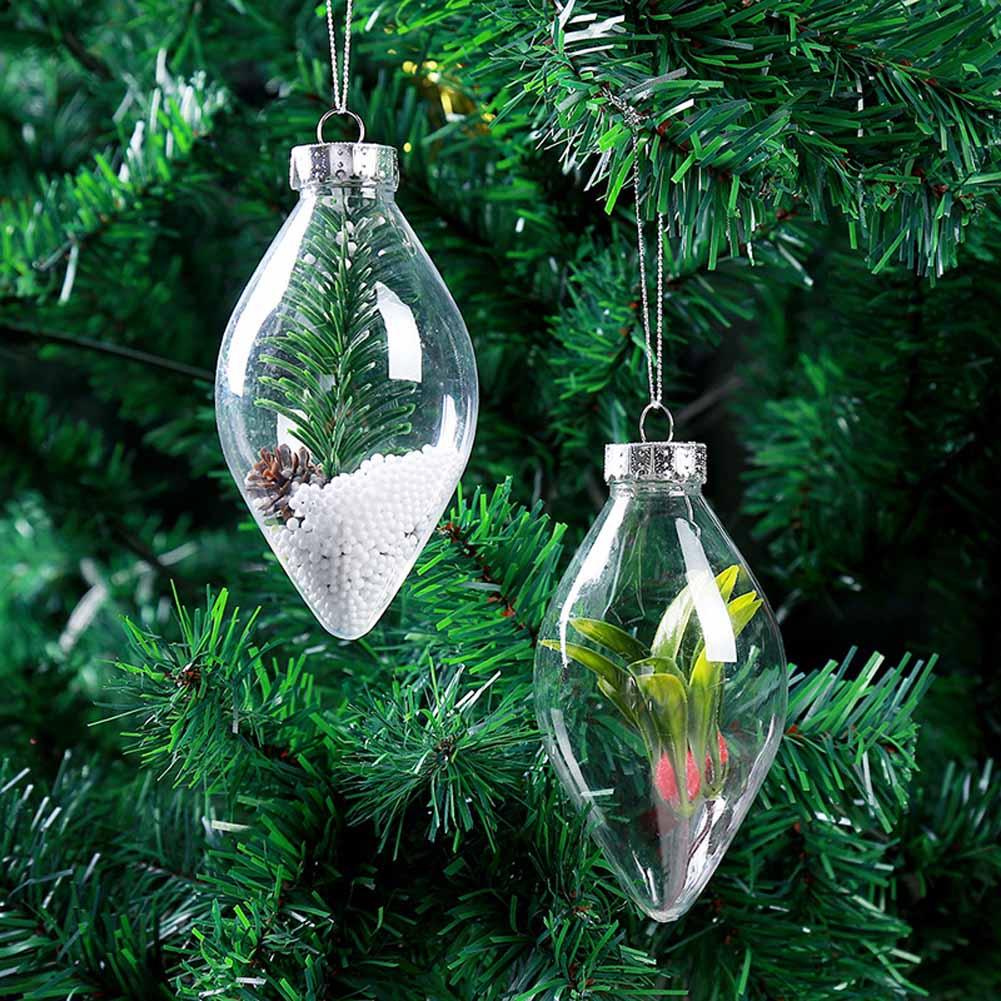 1pc Romantic Design Christmas Decoration Transparent Can Open Plastic Christmas Clear Bauble Ornament Gift Present color random