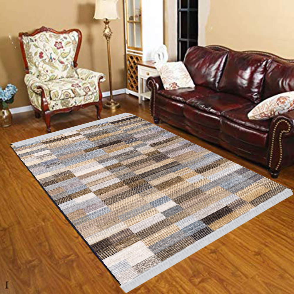 Else Gray Brown Black Boxes Modern Geometric 3d Print Anti Slip Kilim Washable Decorative Kilim Tassel Rug Bohemian Carpet