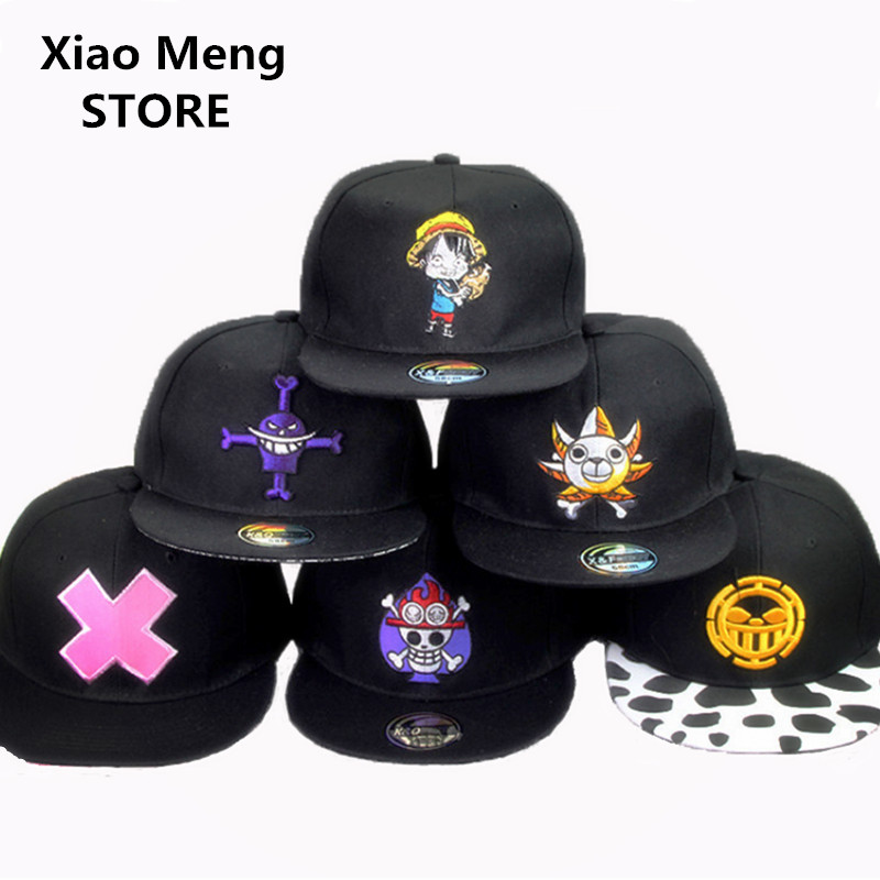 2017 Japanese Anime One Piece Baseball Cap Hat Embroidery Hip Hop Hats Bones Pirates King Luffy Snapback Caps For Men Women M49 2017 winter hat for women men women s knitted hats wrinkle bonnet hip hop warm baggy cap wool gorros hat female skullies beanies