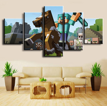 Canvas Printed Game Poster Minecraft 5 Pieces Wall Art Painting Home Decor For Living Room Artwork Cuadros