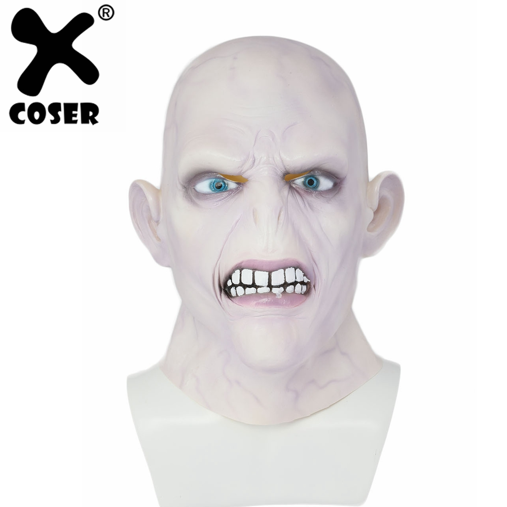 XCOSER Lord Voldemort Mask Harry Potter Cosplay Fleshcolour Full Head Mask 2018 New Hot Halloween Cosplay Costume Prop