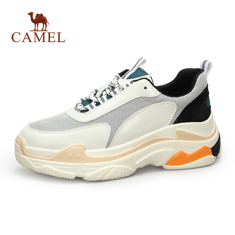 CAMEL New Fashion Sneakers Women Tenis Sport Casual Shoes Woman Leather Wild Platform Heel Retro Female Leisure Lace White Shoes