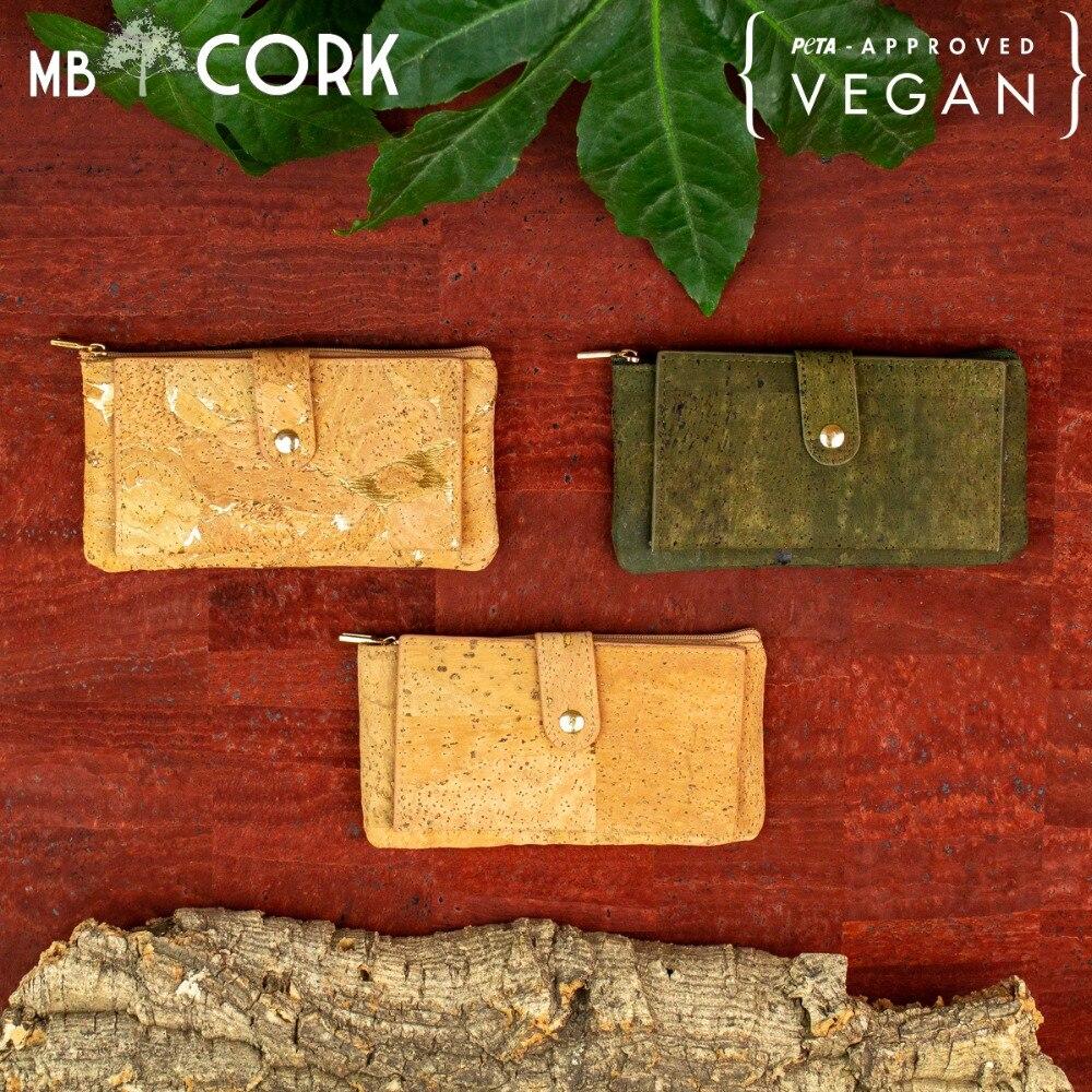 Natural Cork Zipper Women Card Wallet With Flower Pattern BAG-350-B/L/P