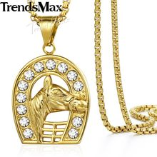 Hip Hop Iced Out Full Rhinestone Horse Men's Pendant Necklaces Gold Stainless Steel Chain for Men Sports Jewelry KN548(Hong Kong,China)