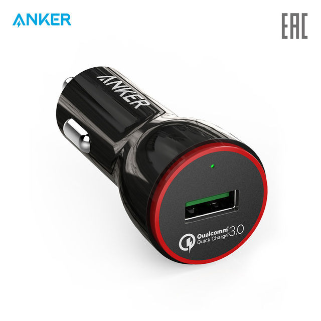 Автомобильное зарядное устройство Anker PowerDrive+ 1 24W car charger with 1-Port QC 3.0 +Anker 3ft micro USB Cable   для авто, автомобиля, официальная гарантия, быстрая доставка