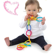 Baby teether toys baby rattle colorful rainbow rings crib bed stroller hanging decoration educational toys for kids
