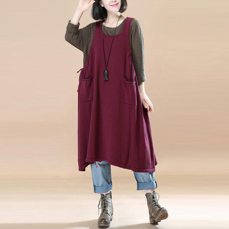 Sleeveless Vestidos Vintage Ladies Dress Casual Loose Knee-length Strappy Dress Plus Size Dungarees Women Baggy Sweats Dress