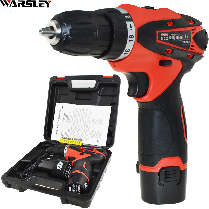 12V Power Tools Battery Drill Electric Drill Electric Electric Drill ing 2 Batteries Cordless Drill Screwdriver Plastic Boxed