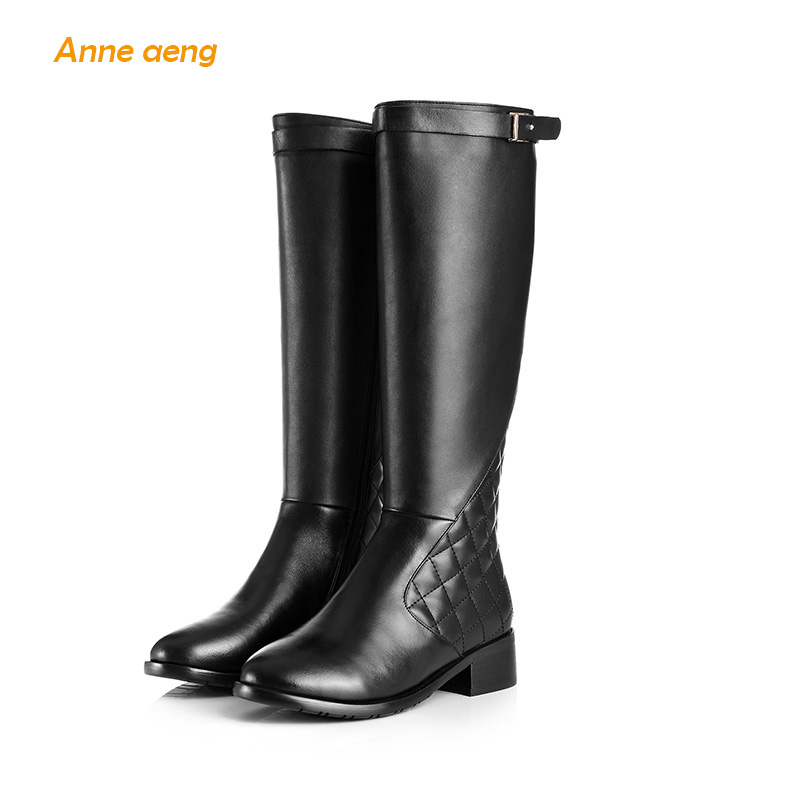 Anne Aeng womens shoes Mid-Calf winter boots Free Shipping Genuine Leather Square Heel Zip Round Toe Motorcycle Buckle BeltAnne Aeng womens shoes Mid-Calf winter boots Free Shipping Genuine Leather Square Heel Zip Round Toe Motorcycle Buckle Belt