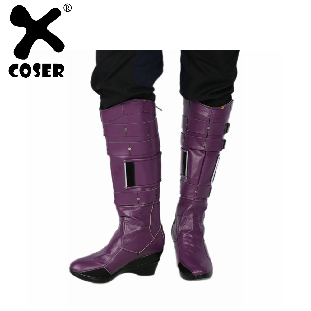 XCOSER Nebula Boots Deluxe Purple PU Leather Knee-high Boots Guardians of the Galaxy Vol. 2 Nebula Cosplay Costume Prop Shoes