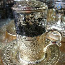 Аутентичный турецкий чай воды шербет чашка стеклянная тарелка крышка османского золота