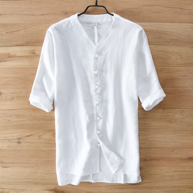 Men's short sleeve summer Chinese wind plate buckles pure linen shirt thin style restoring ancient ways of leisure loose big yar