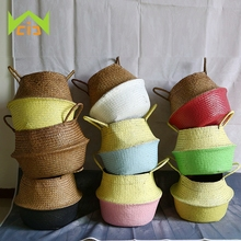 WCIC Natural Sea Grass 10 Colors Hand-Woven Flower Pot Planter Folding Plant Pot Flower Pots Decorative Garden Succulent Pot