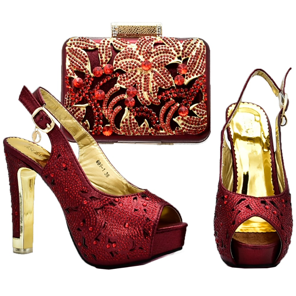 Femmes Avec Sandale 7 Élégant Et Nombreux Vin Strass Hauts Sac 4 De Ensemble Embrayages Chaussures Sb8128 À Assorti Talons 1 Pouces SBcy1y0Z