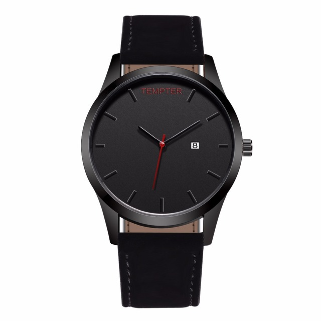 2018 New Sport Watch Men Leather Calendar Quartz Wrist Wristwatch Military Clock Male Leather Wrist Watch Relogio Masculino saat