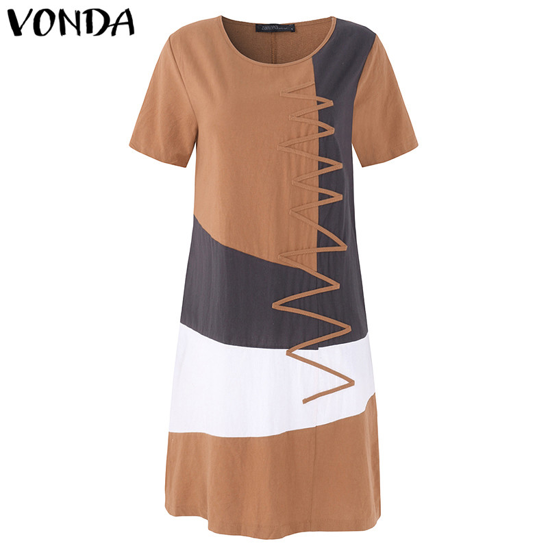 VONDA Maternity Clothing 2018 Summer Patchwork Mid-calf Dress Pregnant Women Short Sleeve Casual Loose Pregnancy Vestidos 5XL