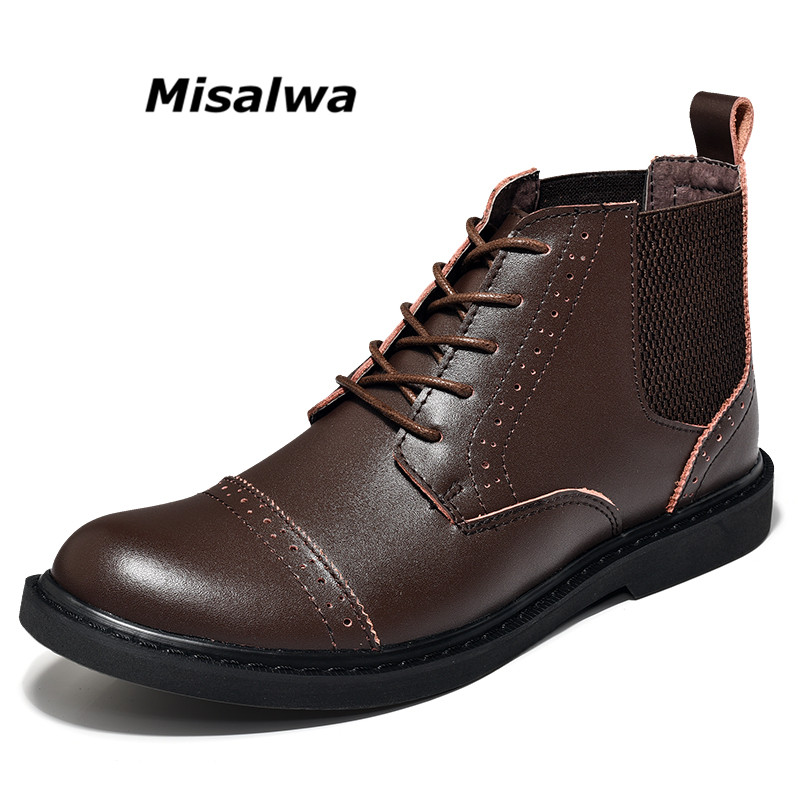 Misalwa 2018 New Brand Ankle Chelsea Boots Men Split Leather Fashion Hard-Wearing Non-slip Round Toe Men Casual Shoes