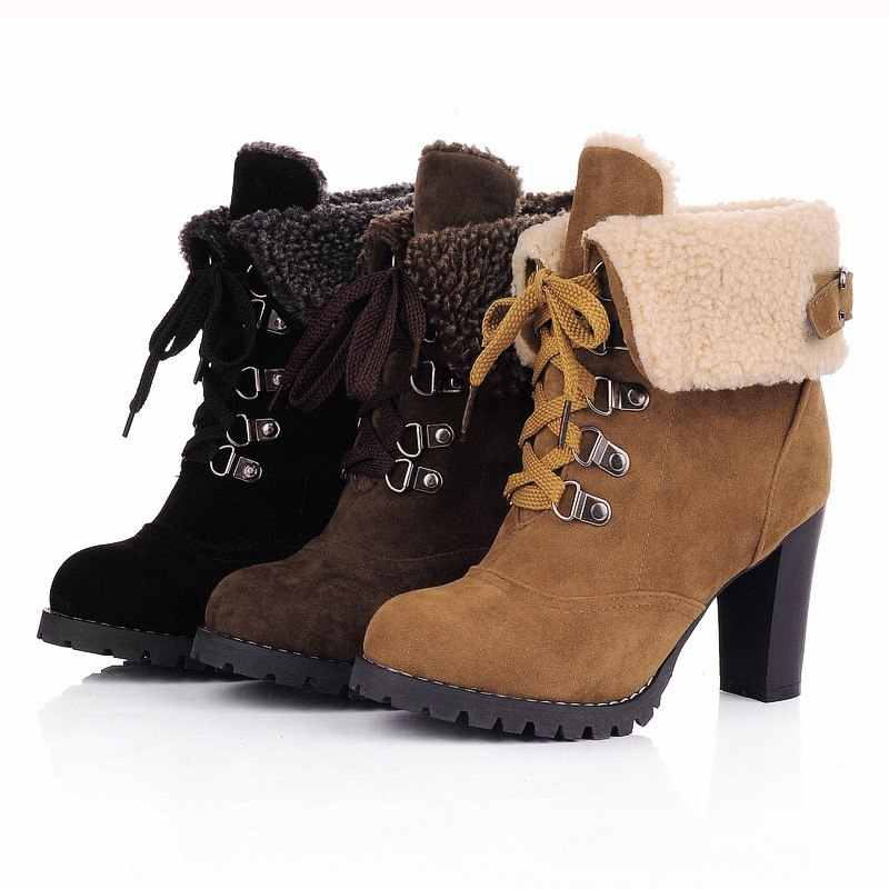 Giáng sinh Thời Trang Giày Mùa Đông Phụ Nữ Mắt Cá Chân Martin Khởi Động Giày Thường Giày Cô Gái Chống trượt Ngoài Trời Cao Gót Giày Zapatos De mujer