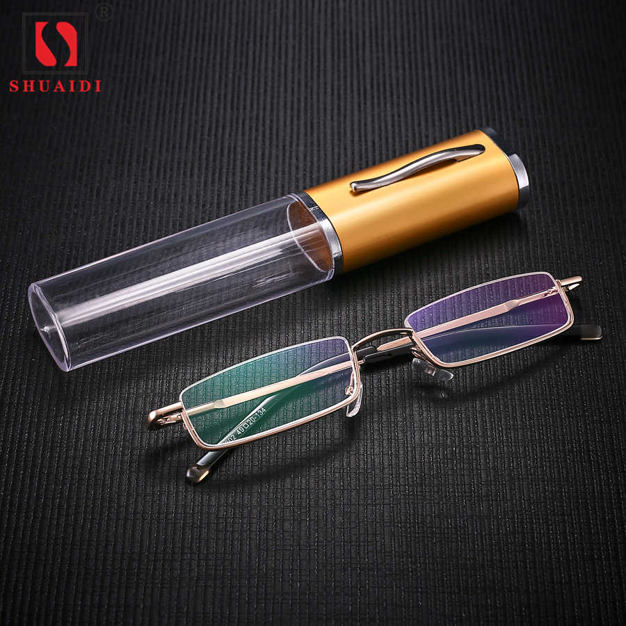 72c48a8276 Detail Feedback Questions about Men Women Reading Glasses Metal Frame Resin  Lens Ultralight Anti fatigue Half Rim Glasses Women Fashion Eyewear with  Case on ...