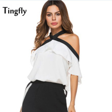 Tingfly Bow Tie Halter Top Women White Contrast Sexy Backless Casual Shirts Tops 2017 New Fashion Elegant Summer Blouse