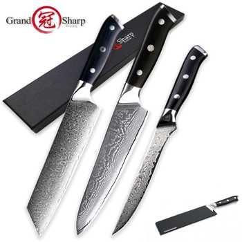 Damascus Kitchen Knives Sets 3 pcs Kitchen Knife Set Chef Kiritsuke Boning vg10 Japanese Steel Damascus Knife Pro Cooking Tools - DISCOUNT ITEM  0% OFF All Category