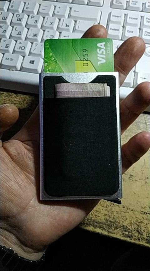 NewBring Slim Slide Card Holder Wallet Automatic Pop-up Business Card Case Money Pocket Protector photo review