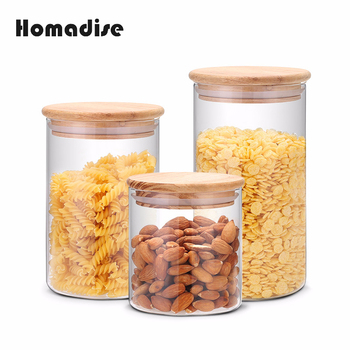 Homadise Glass Jar Tea Pot Flower Food Container Tea Storage Canister Wooden Lid Cover Sealed Tank Kitchen Items serveware