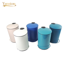 3L 5L Home Trash Can Creative Line Pedal Waste Bin Kitchen Outdoor Sanitary Rubbish Container Metal