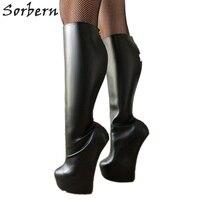 Sorbern Lockable Red Back Open Zip Knee High Boots Lady Heavy Hoof Sole Heelless Locking Knee Hi Fetish Heel Boots Women Unisex