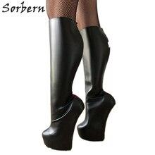 Sorbern הניתן לנעילה אדום גב פתוח Zip הברך גבוהה מגפי גברת כבד פרסת Sole ללא עקבי נעילה הברך היי פטיש העקב מגפיים נשים יוניסקס