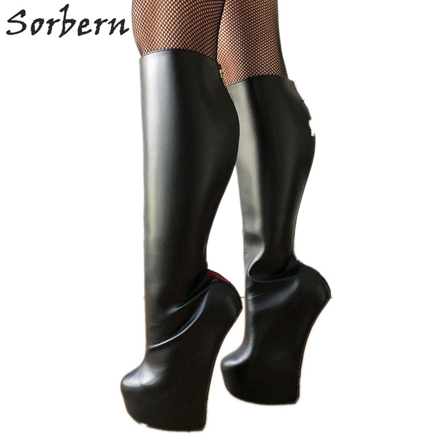 Sorbern lockable vermelho voltar aberto zip joelho botas altas senhora pesado hoof sole heelless travamento joelho hi fetish calcanhar botas feminino unisex