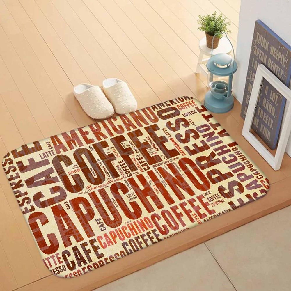 Else Big Brown Yellow Orange Coffee Capuchino Cafe Writen 3d Pattern Print Anti Slip Doormat Home Decor Entryway Kitchen Mat