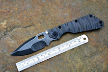 SMF  Black Stonewashed D2 blade Survival Tactical knife Titanium handle flame texture quality Knives Outdoor